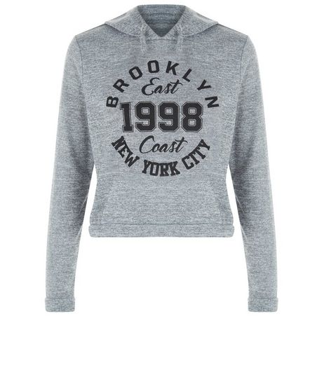 Teens Grey Brooklyn 1998 NYC Print Hoody | New Look