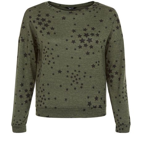 Teens Khaki Star Print Sweater | New Look