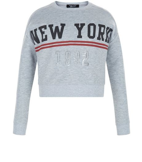 Girls Grey New York 1992 Sweater | New Look
