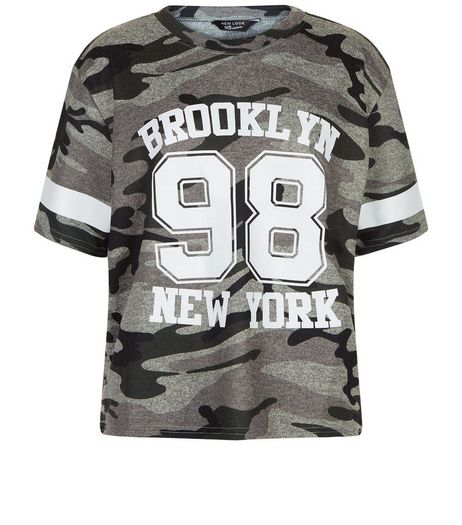 Teens Khaki 98 Camo Print T-Shirt | New Look