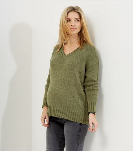 Maternity Khaki V Neck Long Sleeve Jumper | New Look