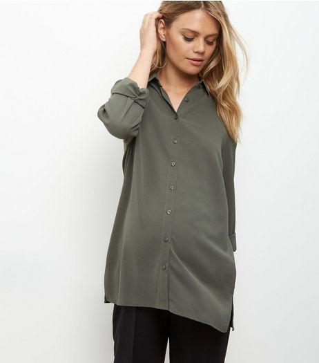 Maternity Khaki Crepe Longline Shirt | New Look