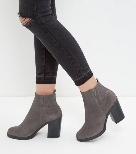 Grey Suede Block Heel Chelsea Boots | New Look