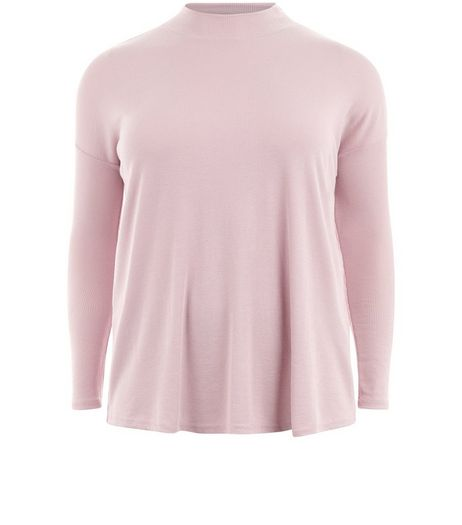 Curves Shell Pink Ribbed Funnel Neck Top | New Look