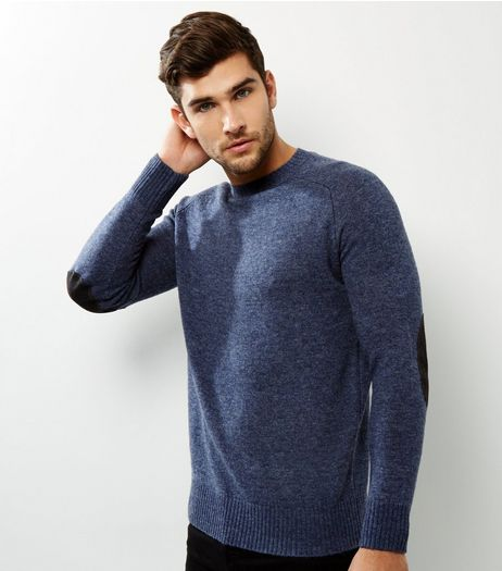 Blue Wool Mix Elbow Patch Jumper | New Look