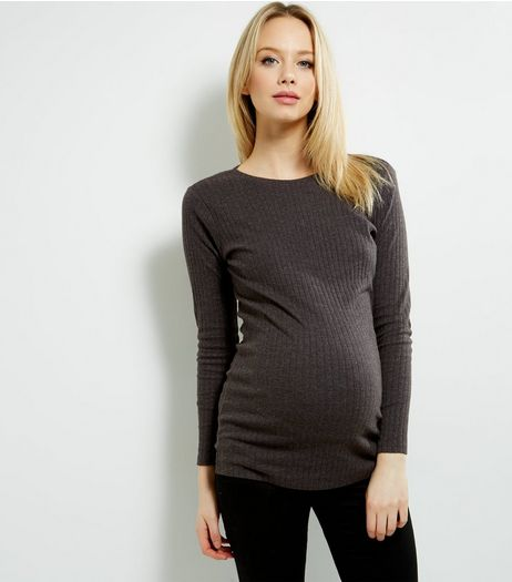Maternity Grey Ribbed Long Sleeve Tunic | New Look