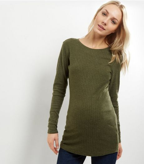 Maternity Khaki Ribbed Long Sleeve Tunic | New Look