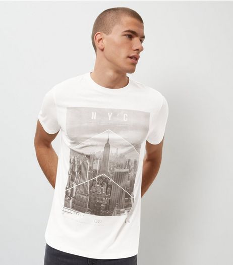 White Seatle City Print Panel T-Shirt | New Look
