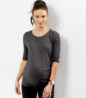 Product photo of Maternity grey 3 4 sleeve top