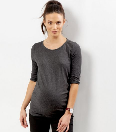 Maternity Grey 3/4 Sleeve Top  | New Look