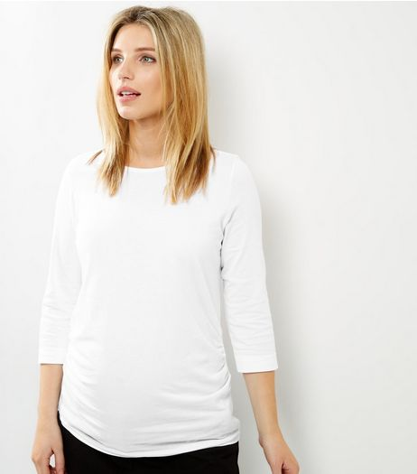 Maternity White 3/4 Sleeve Top | New Look