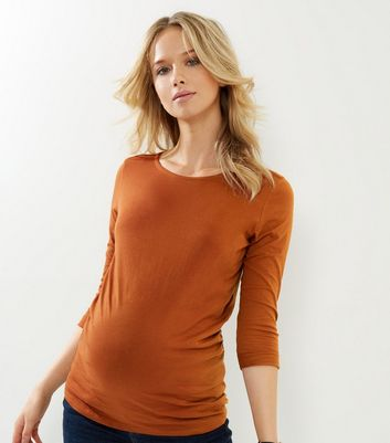 Product photo of Maternity tan 3 4 sleeve top