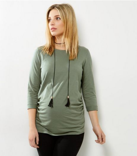 Maternity Khaki Rolled 3/4 Sleeve T-Shirt | New Look