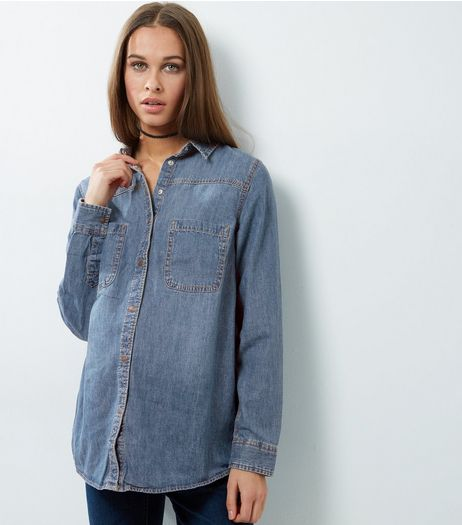 Maternity Blue Denim Double Pocket Shirt | New Look