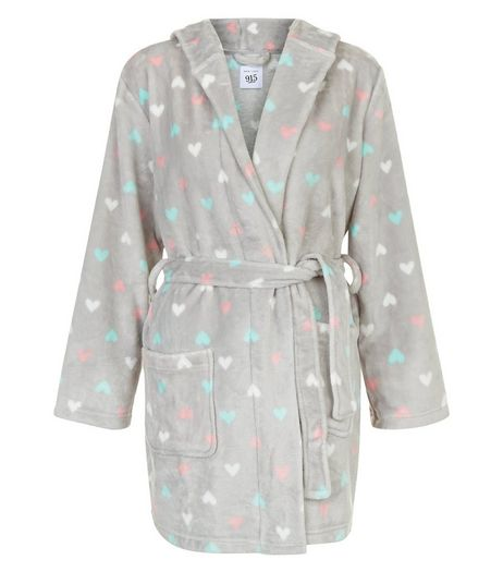 Teens Grey Heart Print Robe | New Look