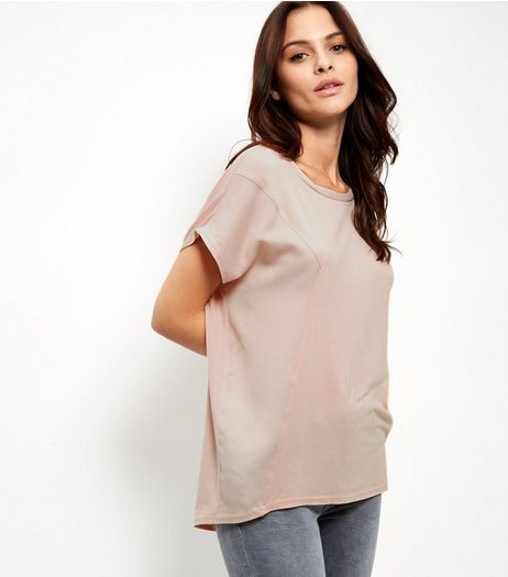 Shell Pink Side Panel Sateen T-Shirt | New Look
