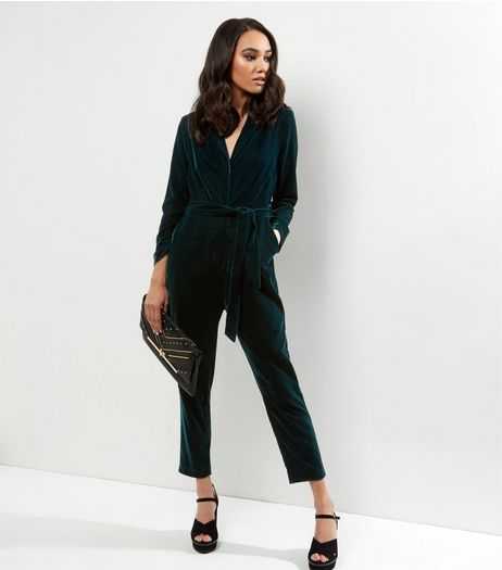 Petite Dark Green Velvet Tuxedo Jumpsuit | New Look