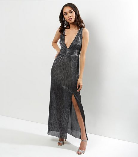 Petite Silver Metallic Pleated Plunge V Neck Maxi Dress | New Look