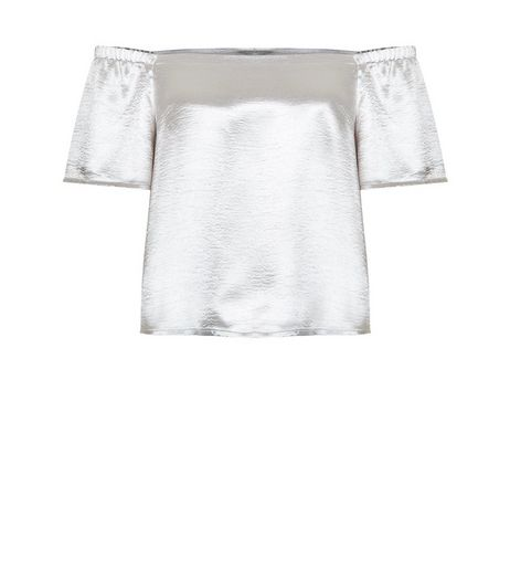 Petite Silver Satin Bardot Neck Top | New Look