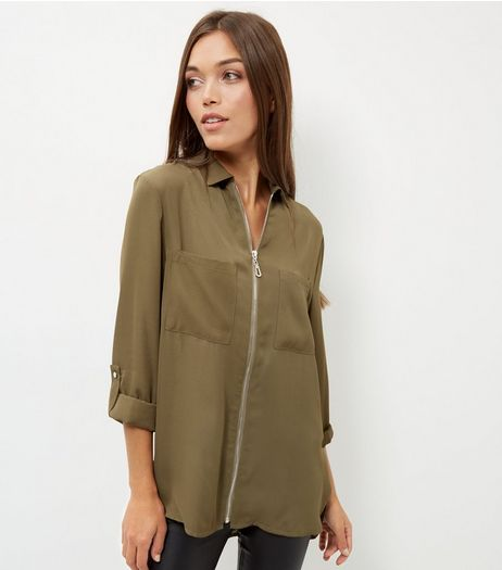 Khaki Zip Front Double Pocket Shirt | New Look