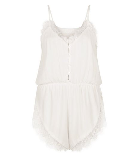 Cameo Rose White Lace Trim Playsuit | New Look