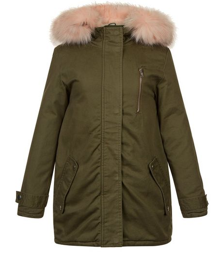 Girls Khaki Contrast Faux Fur Trim Hooded Parka | New Look