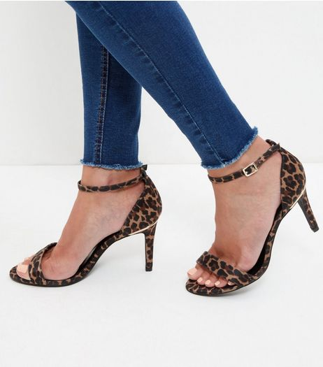 Wide Fit Stone Leopard Print Peep Toe Heels  | New Look