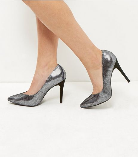 Wide Fit Silver V Throat Pointed Heels  | New Look