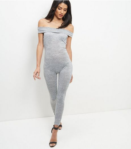 Blue Vanilla Grey Bardot Jumpsuit | New Look