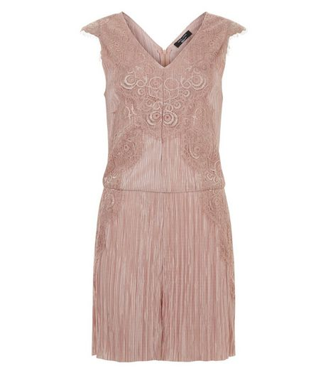 Teens Shell Pink Lace Trim Pleated Playsuit | New Look