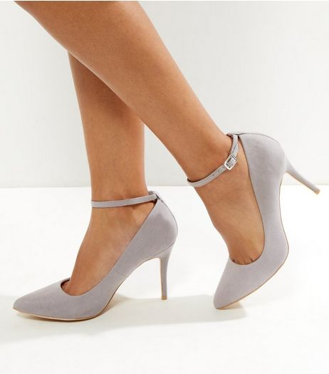 Grey Comfort Suedette Pointed Ankle Strap Heels  | New Look