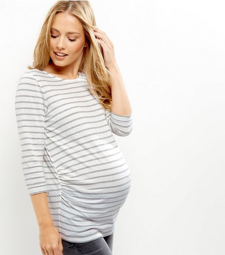 Maternity Grey Stripe 3/4 Sleeve Top  | New Look