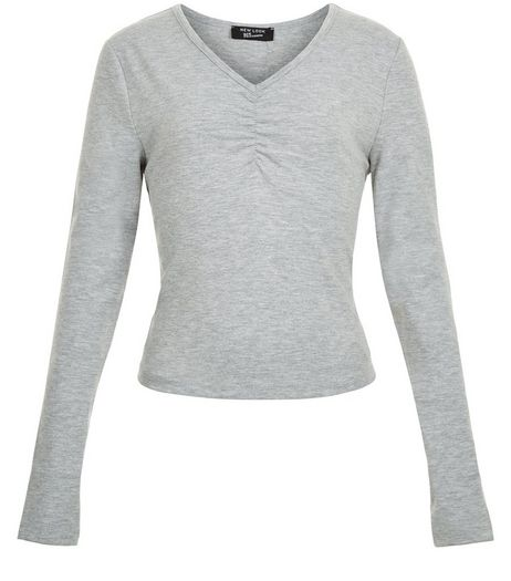 Teens Grey Ruched Front Long Sleeve Top | New Look