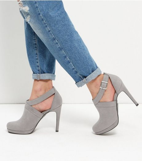 Grey Comfort Suedette Sling Back Heels  | New Look