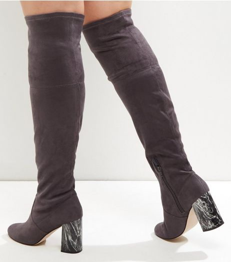 Wide Fit Grey Marble Over The Knee Boots | New Look