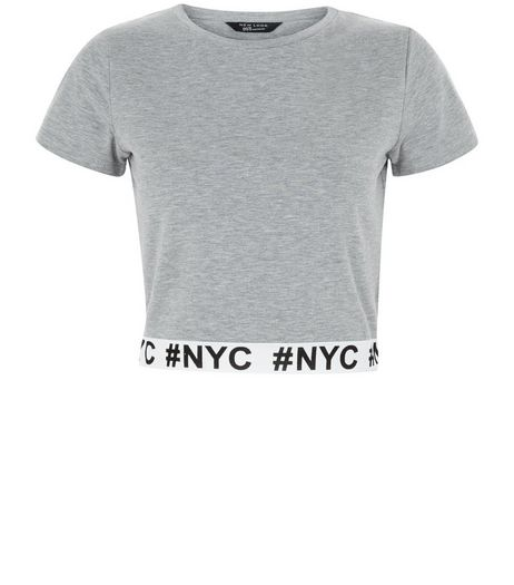 Teens Grey NYC Print Elasticated Hem T-Shirt | New Look