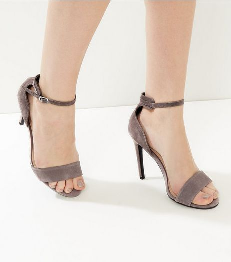 Grey Suede Ankle Strap Heeled Sandals | New Look