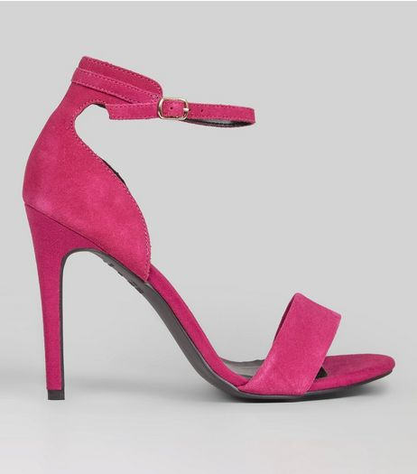 Pink Suede Ankle Strap Heeled Sandals | New Look