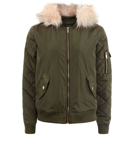 Teens Khaki Faux Fur Hood Bomber Jacket | New Look
