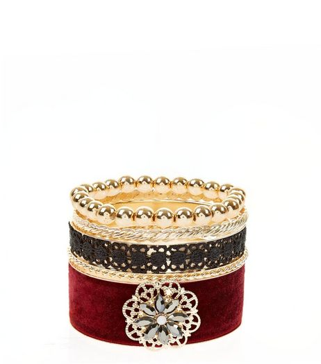 4 Pack Red Velvet And Lace Bangles | New Look