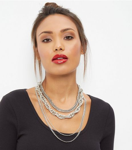 Silver Layered Chunky Necklace | New Look