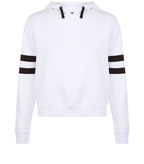 Teens White Stripe Sleeve Hoodie | New Look