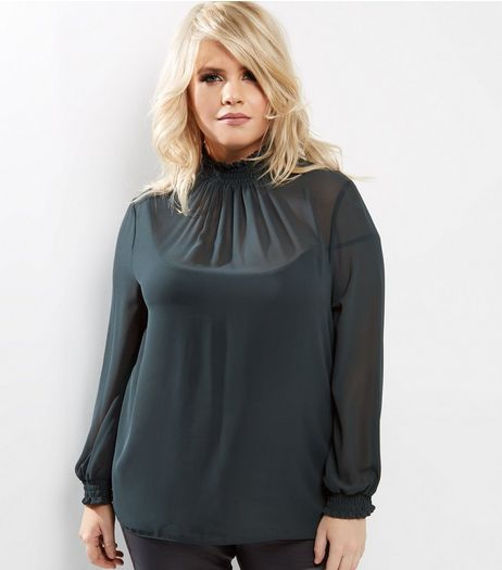 Curves Dark Green Chiffon Shirred Funnel Neck Top | New Look