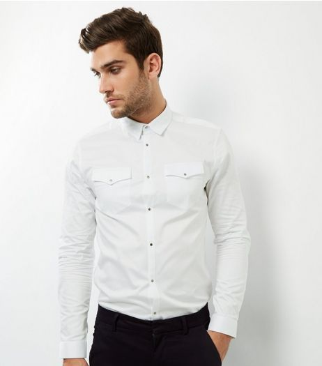 White Long Sleeve Western Shirt | New Look