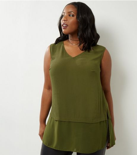 Curves Khaki Layered V Neck Tunic | New Look