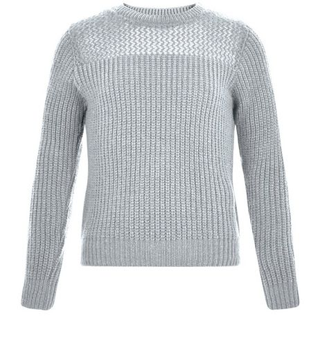 Girls Grey Mesh Panel Ribbed Jumper | New Look