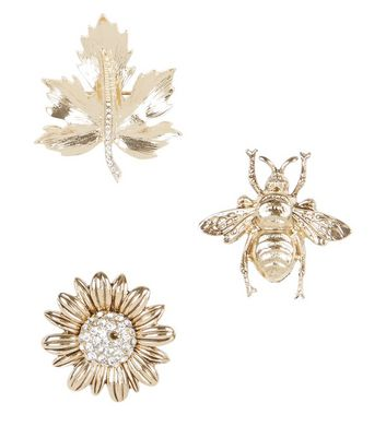 3 Pack Gold Bug and Flower Brooches