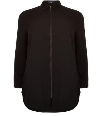 Curves Black Zip Front Shirt
