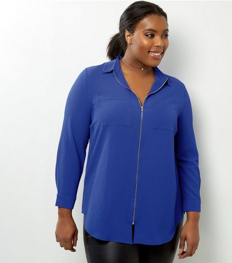 Curves Blue Zip Front Double Pocket Shirt  | New Look