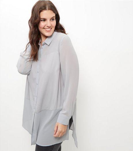 Curves Grey Sheer Panel Longline Shirt | New Look